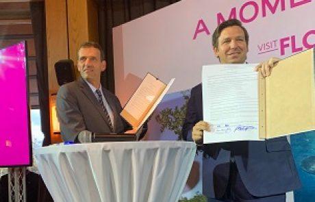 הסכם שיתוף פעולה בתיירות לישראל ולפלורידה